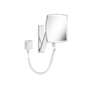 iLook move 17613 019001 ХромАксессуары для ванной<br>Keuco iLook move 17613 019001 косметическое зеркало с подсветкой.  На кронштейне с шарниром, регулируется в трех плоскостях. Фактор увеличения x 5. Подсоединение к электропитанию через трансформатор со штекером (100-240 B) и спиралевидный кабель (400 мм). Подсветка: 1 x 4,5 Вт светодиод. Расход в режиме ожидания: &lt; 0,5 Вт. Выключатель.<br>