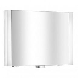 Royal Metropol 14002 171201 ХромМебель для ванной<br>Keuco Royal Metropol 14002 171201 зеркальный шкаф для ванной комнаты.  1 поворотная дверца.  Подсветка: люминесцентная лампа (2х24 Вт Т5). <br>Задняя стенка внутри зеркальная,  выключатель (снаружи), 1 расположенная снаружи розетка, 2 расположенные внутри розетки. <br> 3 регулируемые по высоте стеклянные полочки.<br>Корпус серебристый, анодированный. Монтаж настенный.<br>