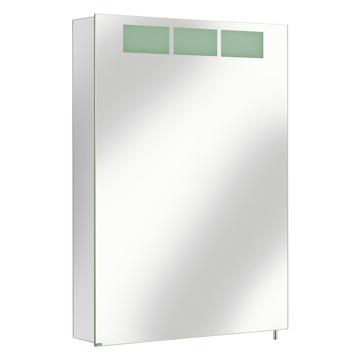 Royal T1 12601 171201 ЛевыйМебель для ванной<br>Keuco Royal T1 12601 171201 зеркальный шкаф с подсветкой. <br>Одна распашная дверца из двойного хрустального стекла, петли слева, защита от брызг, вид IP 44, люминесцентная лампа (1 x 36 Вт). <br>Внутреннее оснащение:<br>&amp;#8209; 1 выключатель<br>&amp;#8209; 1 эл. розетка<br>&amp;#8209; 3 переставляемые по высоте стеклянные полочки.<br>Корпус серебристый, анодированный. Монтаж настенный.<br>