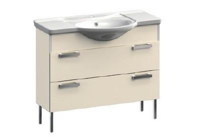 Dreja VR1-131-106 БелаяМебель для ванной<br>Тумба под раковину напольная на ножках с 2-мя ящиками Veronica Dreja VR1-131-106. Цвет белый.<br>