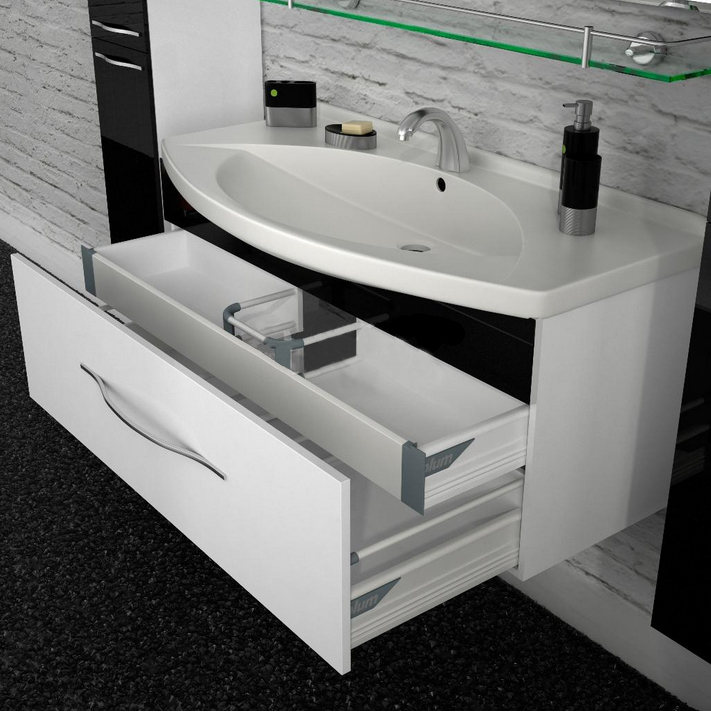 Лагуна 120 подвесная Категория 2Мебель для ванной<br>Тумба с раковиной 120 Box Lite (подвесная 2 ящика, один из них скрытый).  Раковина выполнена из литьевого мрамора, фасады - влагостойкий МДФ ламинированный пленкой ПВХ, фурнитура - tandembox Blum с встроенной системой мягкого закрывания.<br>