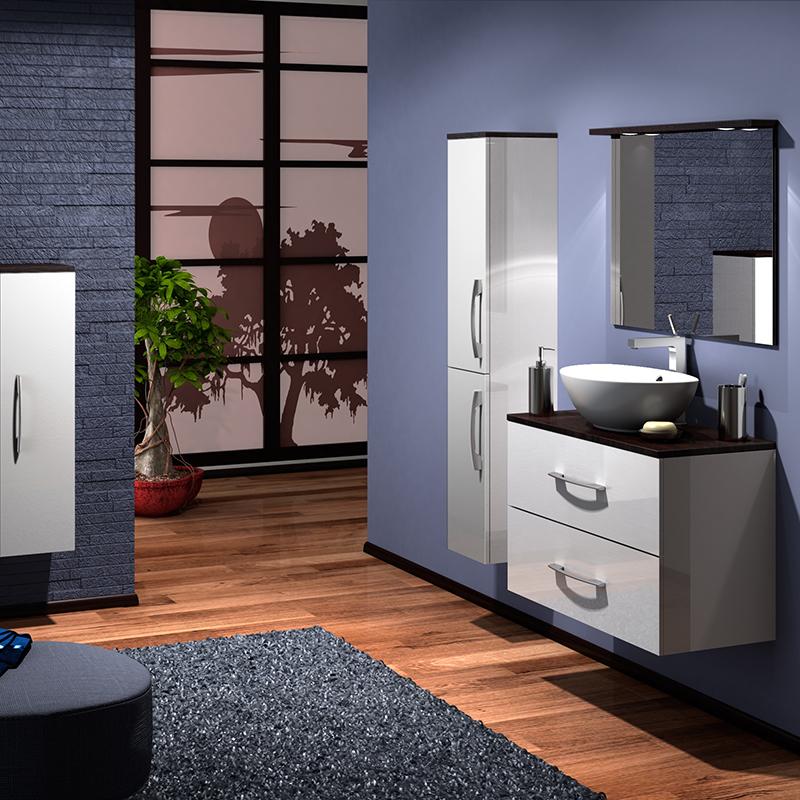 Гамма 75 Box Lite Категория 2Мебель для ванной<br>Тумба с раковиной 75 Box Lite (подвесная 2 ящика).  Раковина выполнена из литьевого мрамора, фасады - влагостойкий МДФ ламинированный пленкой ПВХ, фурнитура - tandembox Blum с встроенной системой мягкого закрывания.<br>