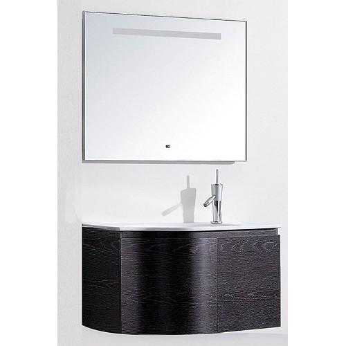Т-12063 Черный дубМебель для ванной<br>Timo Т-12063 комплект мебели для ванной комнаты. В комплект входит: подвесная тумба 900х500х500 мм, раковина 900х500х200 мм, зеркало 900х60х700 мм. Двери тумбы оснащены системой плавного закрытия, а зеркало имеет  подсветку, которая включается с помощью сенсорного дисплея.<br>