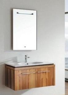 Т-10207 Грецкий орехМебель для ванной<br>Timo Т-10207  комплект мебели для ванной комнаты. В комплект входит: подвесная тумба 800х460х500 мм, раковина 800х460х180 мм, зеркало 500х60х900 мм. Зеркало имеет подсветку, которая включается с помощью сенсорного дисплея.<br>