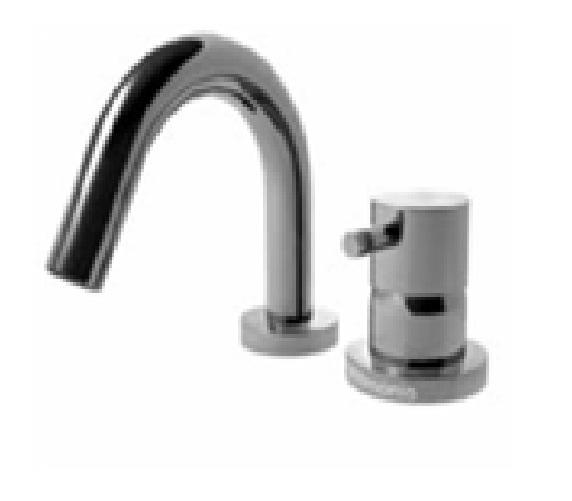 EOBA0430S/P INX (Матовый никель)Смесители<br>Смеситель для ванны DIAMETROTRENTACINQUE EOBA0430 INX двухсекционный смеситель для устанавливаемый на борт ванны с изливом 133мм (диаметр ручки 45мм). Цвет: матовый хром.<br>