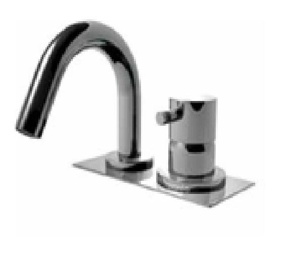 EOBA0430 INX (Матовый никель)Смесители<br>Смеситель для ванны DIAMETROTRENTACINQUE EOBA0430 INX двухсекционный смеситель для устанавливаемый на борт ванны с изливом 133мм, с декоративной панелью  (диаметр ручки 45мм). Цвет: матовый хром.<br>