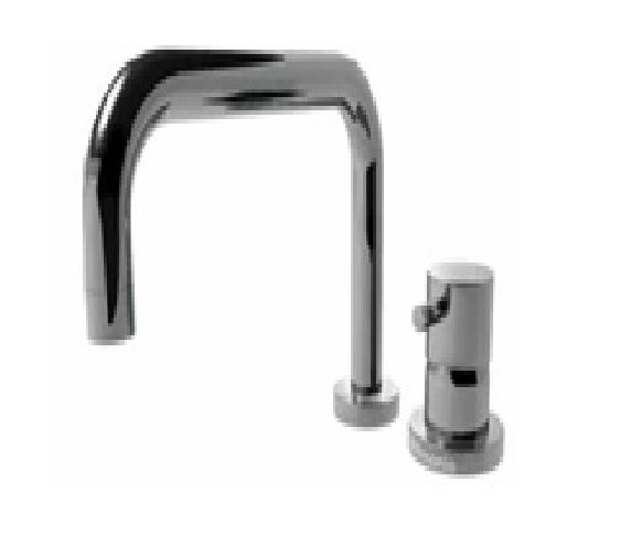 EOBA0430H1S/P INX (Матовый никель)Смесители<br>Смеситель для ванны DIAMETROTRENTACINQUE EOBA0430H1S/P INX двухсекционный смеситель для устанавливаемый на борт ванны с изливом 220мм,  (диаметр ручки 45мм). Цвет: матовый хром.<br>