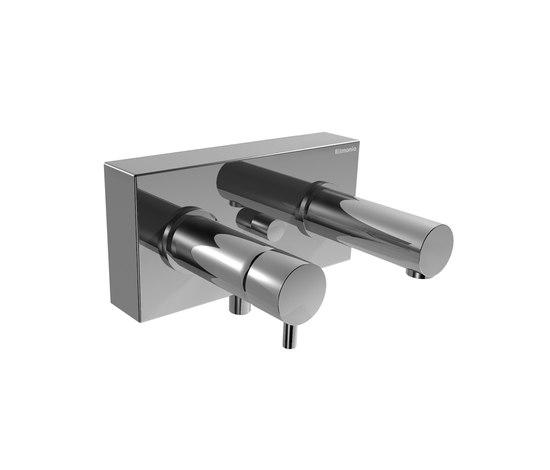 EOBA0130 INX (Матовый никель)Смесители<br>Смеситель для ванны/душа DIAMETROTRENTACINQUE EOBA0130 INX настенный, с автоматическим переключателем (диаметр ручек 45 мм). Цвет: матовый никель.<br>