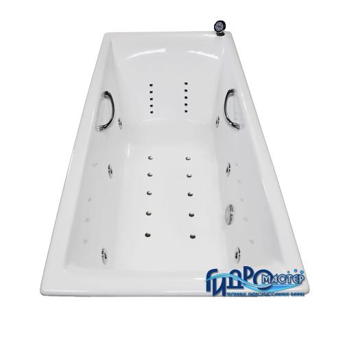 Goldman Premium ExclusiveВанны<br>Гидромастер  Goldman Premium чугунная гидромассажная ванна. Гидромассаж 6 форсунок, аэромассаж 10 форсунок, система хромотерапии, поворотный электронный пульт управления с жидкокристаллическим информационным дисплеем, функция очистки системы продувкой, система защиты от сухого пуска, защита от перегрева, таймер.<br>