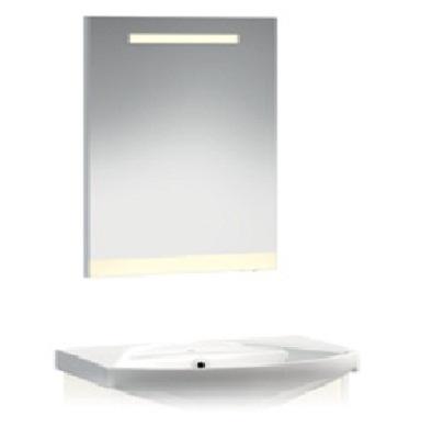 VR2-12-65 ГолубоеМебель для ванной<br>Зеркало с горизонтальной подсветкой и цветной полосой Veronica VR2-12-65.   Установлен блок «выключатель-розетка». Цвет полосы голубой.<br>