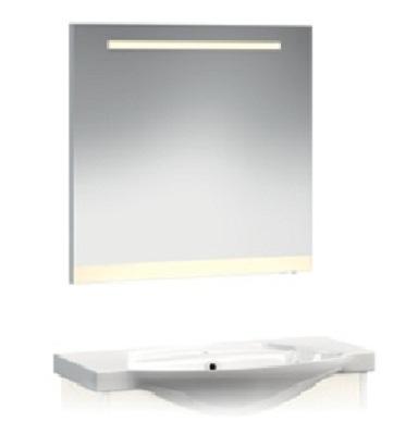 VR2-12-85 АквамаринМебель для ванной<br>Зеркало с горизонтальной подсветкой и цветной полосой Veronica VR2-12-85.   Установлен блок «выключатель-розетка».  Цвет полосы аквамарин.<br>