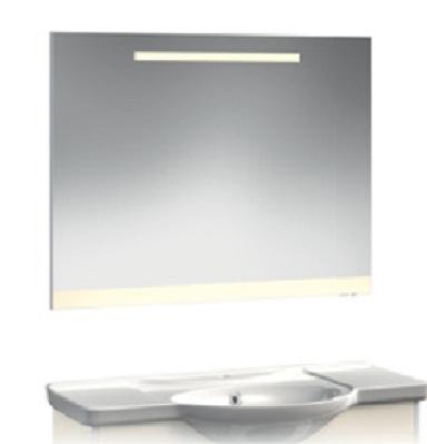 VR2-12-105 КрасноеМебель для ванной<br>Зеркало с горизонтальной подсветкой и цветной полосой Veronica VR2-12-105.   Установлен блок «выключатель-розетка». Цвет полосы красный.<br>