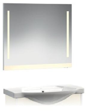 VR2-22-105 СинееМебель для ванной<br>Зеркало-Люм Veronica VR2-22-105  с вертикальной подсветкой и и цветной полосой внизу. Люминисцентная подсветка 2 лампы. Установлен блок «выключатель-розетка». Цвет синий.<br>