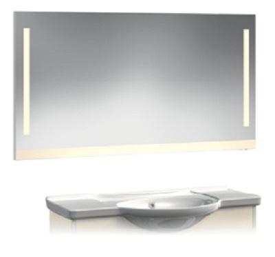 VR2-22-110 АквамаринМебель для ванной<br>Зеркало-Люм Veronica VR2-22-110  с вертикальной подсветкой и и цветной полосой внизу. Люминисцентная подсветка 2 лампы. Установлен блок «выключатель-розетка». Цвет аквамарин.<br>