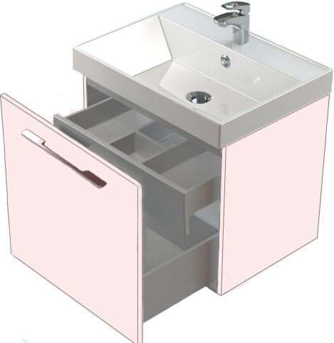 Соло 50 со скрытым ящиком БелаяМебель для ванной<br>Тумба Astra Form Соло 50 с внутренним ящиком.<br>
