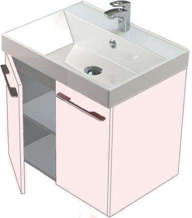 Соло 60 распашные дверцы БелаяМебель для ванной<br>Тумба Astra Form Соло 60 подвесная с дверцами.<br>