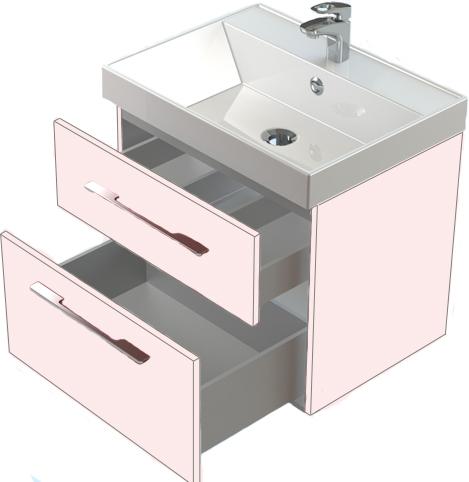 Соло 70 два выдвижных ящика БелаяМебель для ванной<br>Тумба Astra Form Соло 70 подвесная с 2 ящиками.<br>