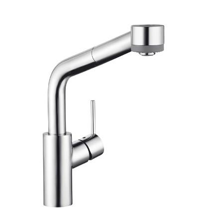 Talis S 32856000 ХромСмесители<br>Hansgrohe Talis S 32856000 смеситель для кухни с вытягивающим душем. Керамический картридж,  поворотный излив. Подводка c гайкой &amp;#8540;. <br>Аэратор QuickClean.<br>Крепление рукоятки Boltic.<br>Поворотный излив 150°.<br>