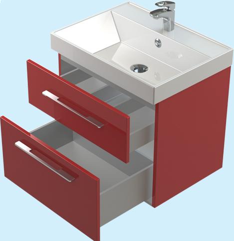 Соло 60 ЦВ RAL два выдвижных щика цвет RALМебель дл ванной<br>Тумба Astra Form Соло 60 подвесна с 2 щиками. Возможно исполнение в цветах по раскладке Ral.<br>