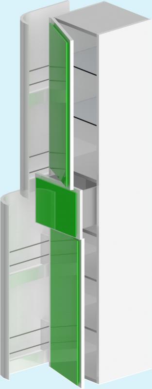 Прима ЛевыйМебель для ванной<br>Пенал Прима 024145. В комплекте: полки ЛДСП и стекло, фасады (петли с плавным закрыванием),боковые и фронтальный ящики (направлющие полного выдвижения), крепёжный комплект.<br>