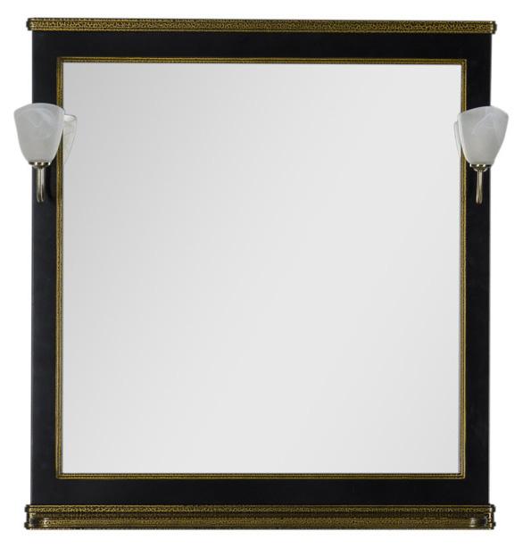 Валенса 90 черный  каркалет/золотоМебель для ванной<br>Зеркало Aquanet Валенса 90. Артикул 180043. Светильники приобретаются отдельно. Цвет  черный каркалет/золото.<br>