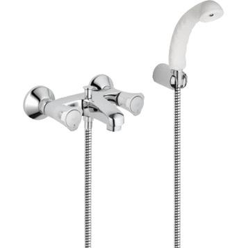 Costa L 25460001 ХромСмесители<br>Grohe Costa L 25460001 двухвентильный смеситель для ванны, с душевым гарнитуром. В наборе: смеситель для ванны, душ ручной, держатель ручного душа, душевой шланг. <br>Автоматический переключатель ванна/душ, подключение для душевого шланга 1/2, вентили Longlife с резиновым уплотнением.<br>Количество монтажных отверстий -2. Монтаж вертикальный.<br>