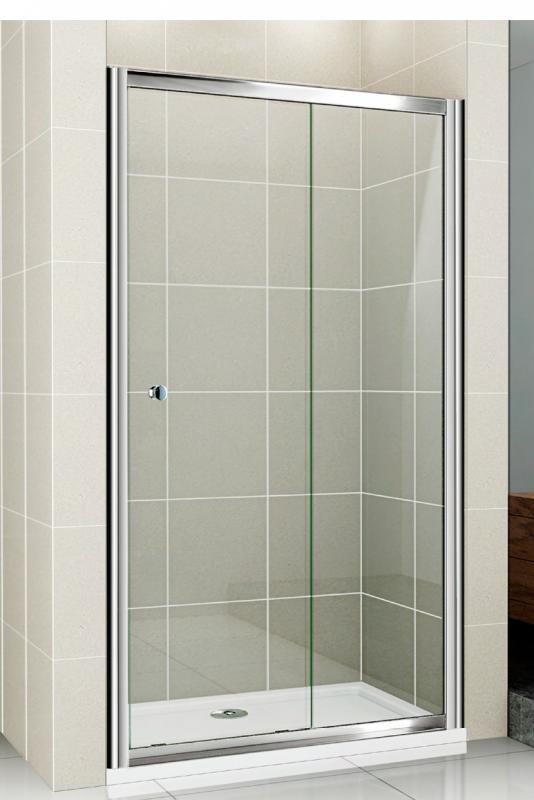 Pratico BF-1-110-P-Cr Текстурированное стеклоДушевые ограждения<br>Душевая дверь Cezares Pratico-BF-1-110-P-Cr с раздвижной секцией и одним неподвижным стеклом. Стекло 5 мм.<br>