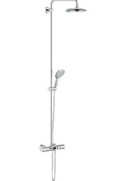 Power and Soul 27913000 ХромДушевые системы<br>Grohe Power and Soul 27913000 душевая система с термостатом и изливом. В наборе: термостат, излив для ванны, душ верхний, душ ручной, душевой шланг 1750 мм. Диаметр верхней душевой лейки 190 мм. Переключатель ванна/душ, кнопочное переключение режимов струи.<br>Душевая система поворотная, душ верхний поворотный 30°, минимальный расход воды 7 л/мин. Монтаж настенный.<br>