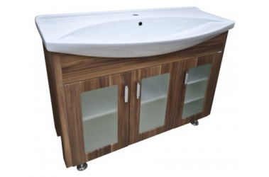 La Futura 105 Венге (без корзины)Мебель для ванной<br>Тумба под умывальник Лагуна-105 LA FUTURA (стекло) без корзины, венге.<br>
