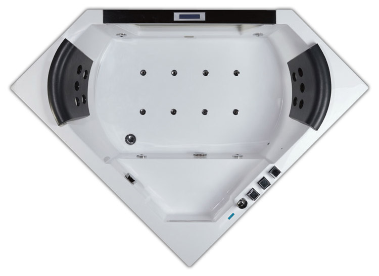 AM156JDTSZ С гидромассажемВанны<br>Двухместная угловая ванна с окном Еаgо AM156JDTSZ с гидромассажем. 22 форсунки. Каскадный налив воды. Сенсорная ПУ. Донный гидромассаж.<br>