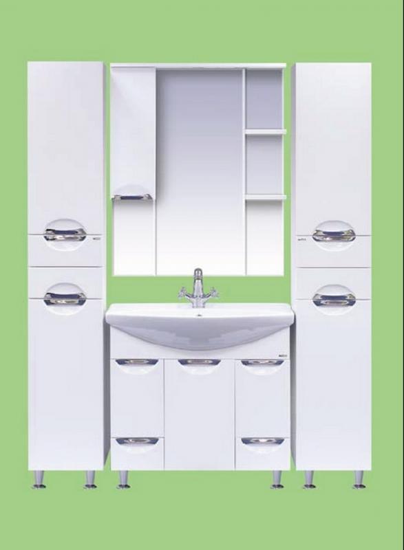 Орхидея-75 БелаяМебель для ванной<br>Тумба напольная Misty Орхидея-75 на ножках с двумя ящиками и бельевой корзиной в комплекте с раковиной. Цвет белый.<br>