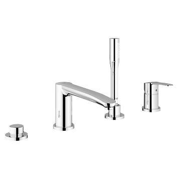 Eurostyle Cosmopolitan 23048002 ХромСмесители<br>Grohe Eurostyle Cosmopolitan 23048002 смеситель для ванны, с ручным душем и душевым шлангом в комплекте. Керамический картридж, фиксатор для излива, переключатель ванна/душ, гибкая подводка. С защитой от обратного потока. Монтаж на борт ванны, на четыре отверстия.<br>