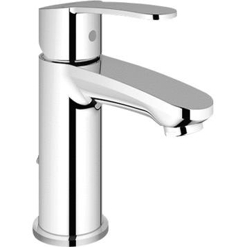Eurostyle Cosmopolitan 23041002 ХромСмесители<br>Grohe Eurostyle Cosmopolitan 23041002 смеситель для раковины, с цепочкой. Гибкая подводка с накидной гайкой 3/8, керамический картридж. Ограничитель температуры воды, ограничитель расхода воды до 2,5 л/мин. Монтаж на одно отверстие.<br>