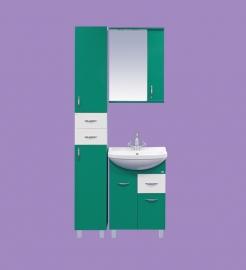 Стиль-55 с 1 ящиком ЗеленаяМебель для ванной<br>Тумба напольная Misty Стиль-55 на ножках с 1 ящиком в комплекте с керамической раковиной. Цвет зеленый.<br>
