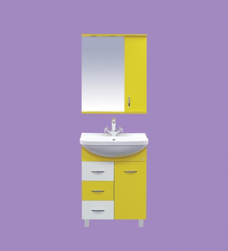 Стиль-60 с 3 ящиками ЖелтаяМебель для ванной<br>Тумба напольная Misty Стиль-60 на ножках с 3 ящиками в комплекте с керамической раковиной. Цвет желтый.<br>