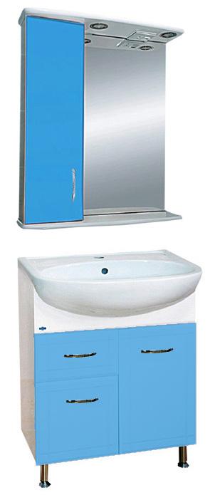 Уют-60 с нижним ящиком ГолубаяМебель для ванной<br>Тумба под раковину напольная на ножках Misty Уют-60 с 1 ящиком  в комплекте с раковиной. Цвет голубой.<br>