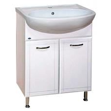 Уют-60 БелаяМебель для ванной<br>Тумба под раковину прямая напольная на ножках Misty Уют-60 в комплекте с раковиной. Цвет белый.<br>
