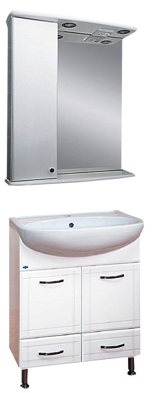 Уют -60 с 2 ящиками БелаяМебель для ванной<br>Тумба под раковину напольная на ножках Misty Уют-60 с 2 ящиками с раковиной в комплекте. Цвет белый.<br>