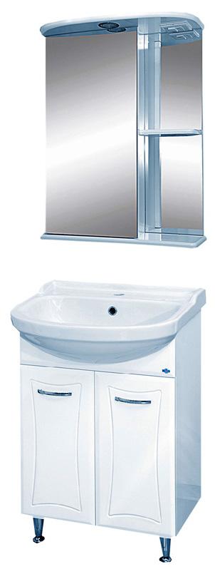 Классик-55 с б/к БелаяМебель для ванной<br>Тумба напольная прямая Misty Классик-55 с бельевой корзиной в комплекте с раковиной. Цвет белый.<br>