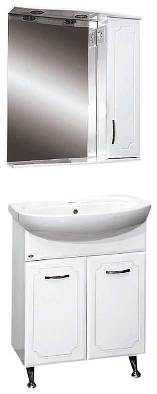 Коло-65 БелаяМебель для ванной<br>Тумба прямая напольная Misty Коло-65 в комплекте с раковиной. Цвет белый.<br>