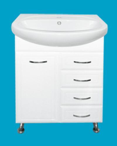 Стелла-65 с 4 ящиками БелаяМебель для ванной<br>Тумба напольная Misty Стелла-65 с 4 ящиками в комплекте с раковиной. Цвет белый.<br>