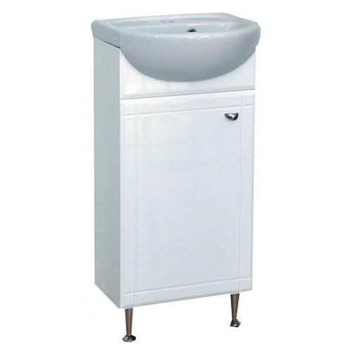 Соло-40 одна дверь ПраваяМебель для ванной<br>Тумба под раковину напольная Misty Соло-40 правая с одной дверцей с раковиной в комплекте. Цвет белый.<br>