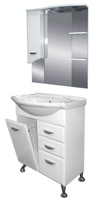 Дрея-65 с 2 ящиками с б/к БелаяМебель для ванной<br>Тумба по раковину напольная Misty Венге-65 с с 2 ящиками с бельевой корзиной в комплекте с раковиной. Цвет белый.<br>