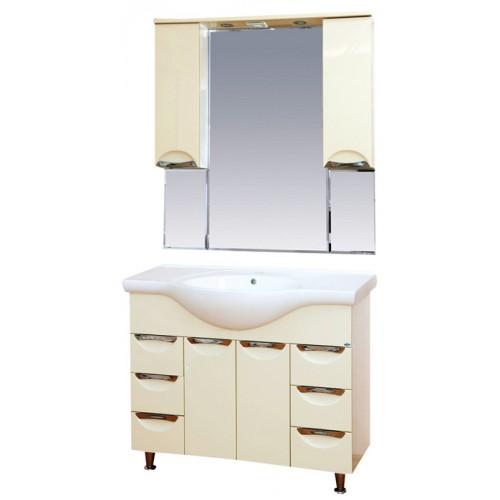 Жасмин-105 с 6 ящиками Бежевая эмальМебель для ванной<br>Тумба под раковину напольная Misty Жасмин-105 с 6 ящиками в комплекте с раковиной. Цвет бежевая эмаль.<br>