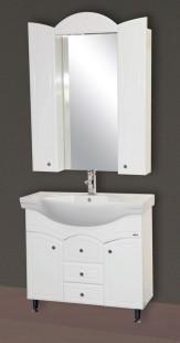 Илона-100 Белая эмальМебель для ванной<br>Тумба напольная Misty Илона-100 с 3 ящиками в комплекте с раковиной. Цвет белая эмаль.<br>
