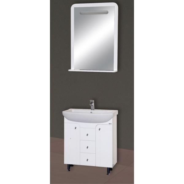 Камилла-75 Белая эмальМебель для ванной<br>Тумба Misty Камилла-75 с 3 ящиками в комплекте с раковиной. Цвет белая эмаль.<br>