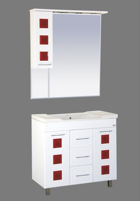 Кармен-70 белая пленка/красное стеклоМебель для ванной<br>Тумба под раковину прямая Misty Кармен-70. Цвет белая пленка/красное стекло.<br>