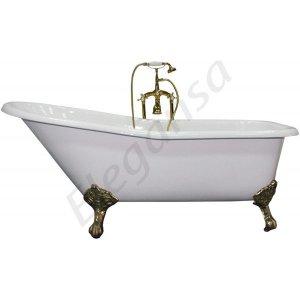 Schale Gold  Белая. Ножки - золотоВанны<br>Elegansa Schale Gold ванна чугунная,отдельно стоящая, овальная. Золоченые латунные ножки – 4 шт. 4 слоя износостойкой эмали. Бесшумна, глушит передачу звука при наполнении. Белоснежное и идеально ровное покрытие эмали. Антискользящее покрытие. Толщина эмали – 3 мм. Смеситель в комплект не входит.<br>