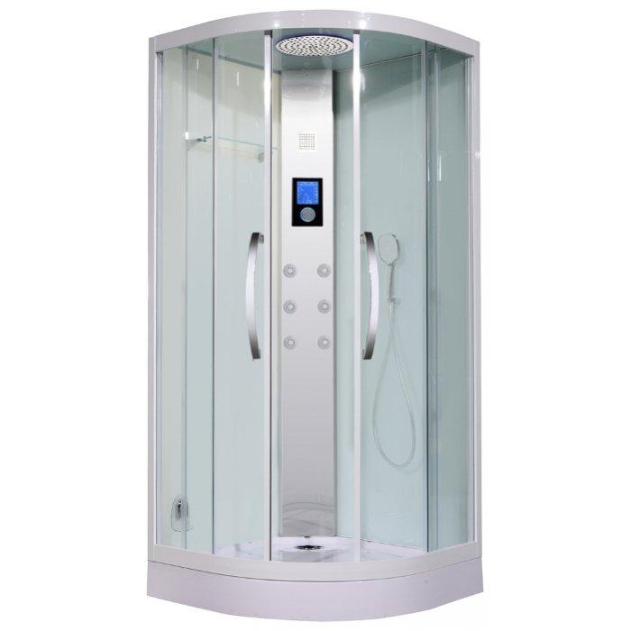 Lira 100 ХромДушевые кабины<br>Lagard Lira 100 душевая кабина с низким поддоном 17 см.  LED-подсветка,  ультрасовременный сенсорный пульт управления, FM-радио, контроль проигрывания MP3 файлов (внешний источник)<br>Турецкая баня, максимальная температура пара которой достигает  60 градусов. Адаптивные анатомические форсунки с 10-струйным изливом, силиконовыми соплами и гипоаллергенной сталью, с возможностью быстрой ручной очистки функциональных отверстий. Форсунки способны изменять угол осевого наклона струи в диапазоне до 25°. В комплекте ручная лейка со шлнгом и металлический тропический душ. Стенки выполнены из ударопрочного стекла толщиной 6 мм.<br>