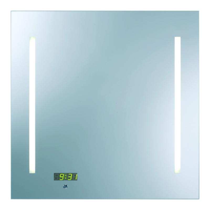 Ready Z   650х650  ХромМебель для ванной<br>Dubiel Vitrum Ready Z  650х650 серебряное зеркало для ванной комнаты, c сенсорным переключателем. С двумя планками декор мороз.  Освещение-с задней стороны с помощью набора флуоресцентных ламп. С цифровыми часами.<br>